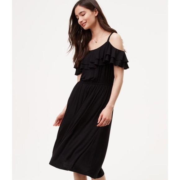 b396c2f261acc LOFT Dresses | Nwt Ruffle Cold Shoulder Black Midi Dress | Poshmark